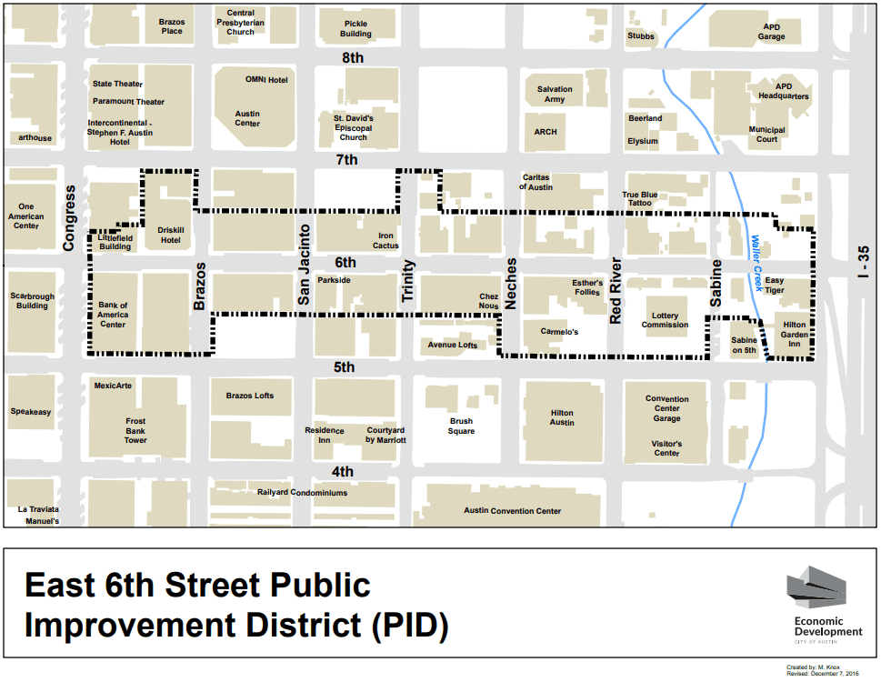 East 6th PID Austin Map