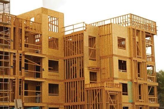 Stick-framed building