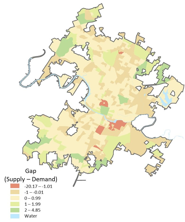 Dockless Access Gap Austin Map