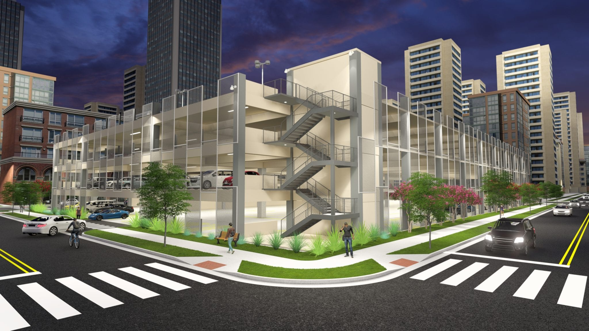3D Rendering of Parking Garage